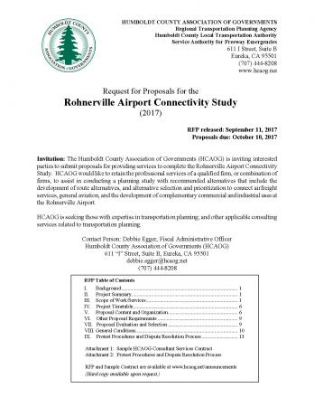 RFP Rohnerville Airport Connectivity Study